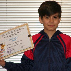 Наш ученик на Първо място в Областния кръг на олимпиадата по руски уезик